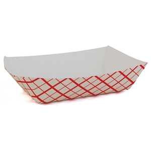 Paperboard Food Tray Red Checked - 0.25 Lb.