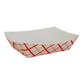Paperboard Food Tray Red Checked - 5 Lb.