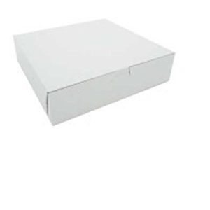 Plain White Lock Corner Bakery Box - 10 in. x 10 in. x 2.5 in.