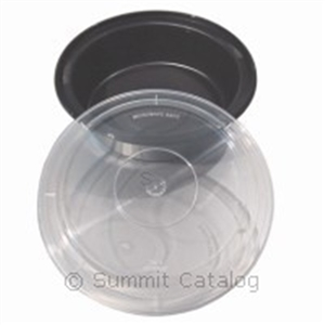 Versatainer Black Round Plastic Microwaveable Container with Lid - 32 oz.