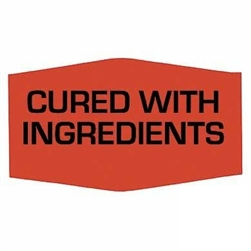 Cured With Ingredients Label Red Day-Glo - 1.38 in. x 0.88 in.