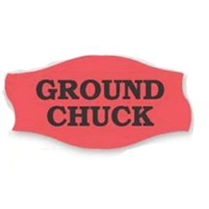 Ground Chuck- PSFR Label Red Day-Glo - 1.56 in. x 0.81 in.