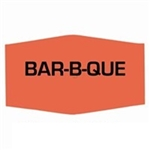 Bar-B-Que Label Red Day-Glo - 1.38 in. x 0.88 in.