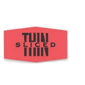 Thin Sliced Label Red Day-Glo - 1.38 in. x 0.88 in.