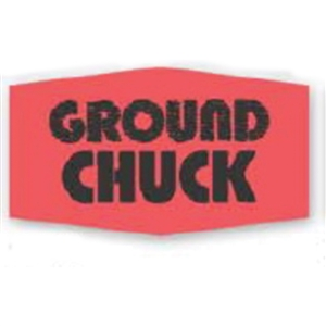 Ground Chuck Label Red Day-Glo - 1.38 in. x 0.88 in.