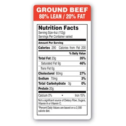 Ground Beef 80 Percent Lean and 20 Percent Fat Red Label - 1.5 in.