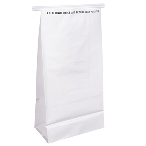 HDPE Airsick Bag with Tin Tie White - 5 in. x 8 in.