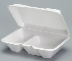 2 Compartment Hinged Foam Large White - 9.19 in. x 6.5 in. x 3.06 in.