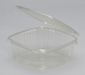Clear Apet Hinged Deli Container - 8 in. x 8.5 in. x 3.25 in.