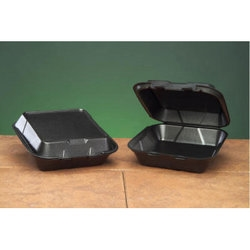 Snap It 1 Compartment Hinged Vented Medium Black Foam Container