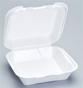 1 Compartment Hinged Container Medium White - 8 in. x 8 in. x 3 in.