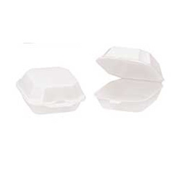 White 1 Compartment Hinged Vented Foam Container - 9.19 in.