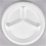 Elite Laminated White 3 Compartment Plate - 10.25 in.