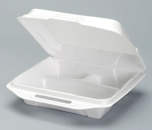 3 Compartment Hinged Foam White - 9.25 in. x 9.25 in. x 3 in.