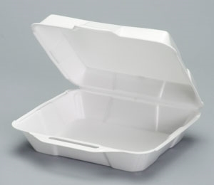 1 Compartment Hinged Foam Container Hi-Volume Medium - 8.9 in. x 9.25 in. x 3 in.