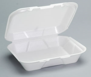 Hinged Foam Snap-It Foam White Container - 7.63 in. x 8.44 in.