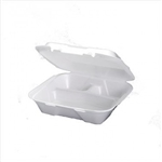 3 Compartment Hinged White Container Foam - 9.25 in. x 9.25 in. x 3 in.