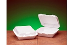 1 Compartment Hinged Container White - 8.25 in. x 8.25 in. x 3 in.