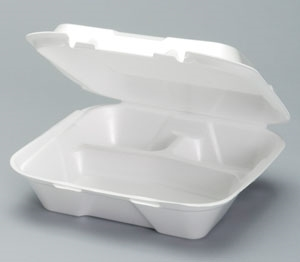 3 Compartment Vented Hinged Container Foam White - 9.25 in. x 9.25 in. x 3 in.
