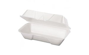 Medium Hoagie Foam Hinged Container White - 8.44 in. x 4.19 in. x 3.06 in.