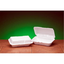 Hoagie Hinged Container Foam Large White - 9.5 in. x 5.25 in. x 3.5 in.