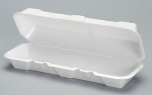 Foam Extra Large White Hoagie Hinged Container - 13.19 in. x 4.5 in.