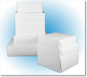 Lock Corner CCNB White Bakery Box - 10 in. x 10 in. x 2.5 in.