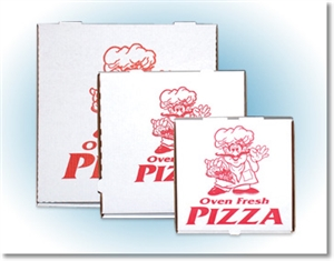 Corrugated Stock Print B Flute Pizza Box - 14 in. x 14 in. x 1.75 in.
