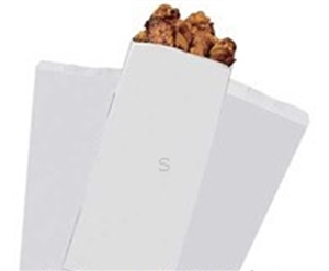 Take Out Poly Coated Paper White Bag - 5 in. x 3 in. x 12 in.