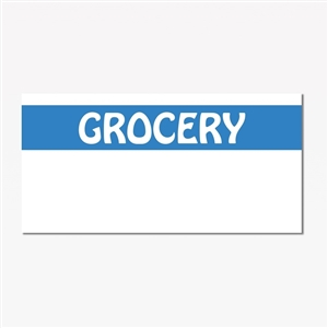 Blue and White Grocery Print Label - 19 mm x 10 mm
