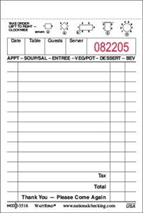 GuestChecks Small Single Copy Paper 13 Lines White - 3.5 in. x 5.13 in.