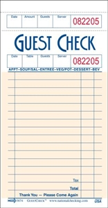 Guest Checks Medium Single Copy Cardboard 18 Lines Salmon - 3.5 in. x 6.75 in.
