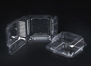 Plastic Clear Hinged Containers - 5.25 in. x 5.5 in. x 2.75 in.