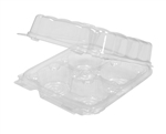 Square Swirl Hinged Plastic Container - 8.66 in. x 8.66 in. x 3.22 in.