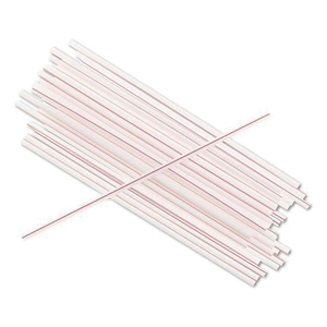 White And Red Stripe Sip Stirrer Straw - 8 in.