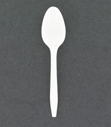 White medium weight plastic tea spoon