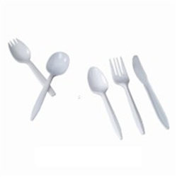 White Medium Weight Polypropylene Wrapped Spork