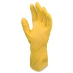 General Purpose Flocked Lined Latex Yellow Gloves - Large