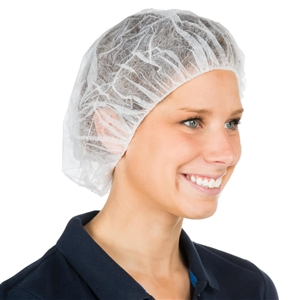 White 14 Gram Bouffant Polypropylene Pleated Cap - 21 in.