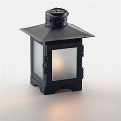 Sterno Black Metal with Frost Panel Lantern Lamp - 6.5 in.