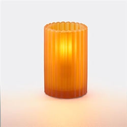 Sterno Round Glass Orange Frost Paragon Candle Lamp - 5 in.