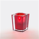 Sterno Clear and Red Square Large Lamp - 3.75 in.