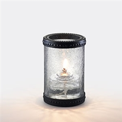 Sterno Clear Crackle Glass with Ring Lamp - 5 in.