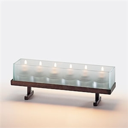 Sterno Candlescape Rectangle Rust Base Lamp - 4 in. x 11.5 in.