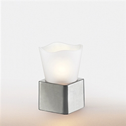 Sterno Brushed Silver Cube Base Lamp - 5.5 in.