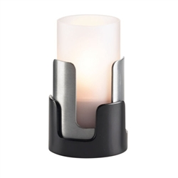 Sterno Black and Silver Finish Puzzle Lamp Base