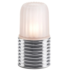 Sterno Ribbed Brushed Chrome Base Lamp