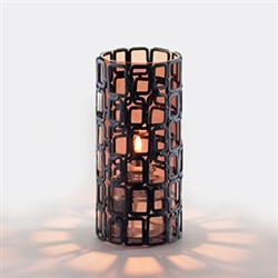 Sterno Black Square Metal Wire Frame Design Base Lamp - 6 in.