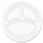 Dart Non-Laminated Dinnerware White 9 in. Dia. Compartmented Plate