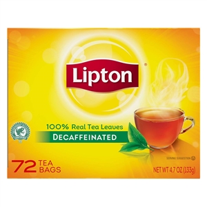 Unilever Best Foods Lipton Decaffeinated Brisk 72 Bags Black Tea